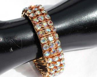 20% OFF SALE - EMPIRE Made Crystal Aurora Borealis Rhinestone Gold-Plated Expansion Bracelet