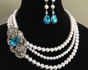 Pearl Necklace with Brooch in Aqua Blue Rhinestone 3 strands Swarovski Pearls Art Deco Silver Topaz Blue Turquoise wedding bridal