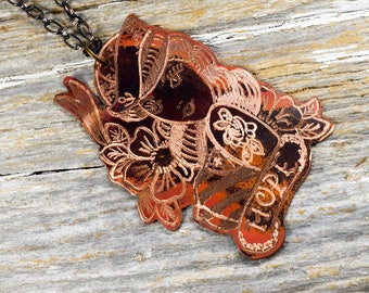 """Vintage Sailor Girl Tattoo Design """"Hope""""  - Copper Necklace Hand Engraved & Heat Patinaed, Classic Tatto Flash Inspired - ReaganJuel: Inkd52"""