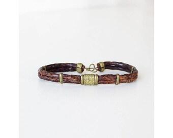 Vintage Bracelet • Braided Leather Bracelet • Boho Leather Bracelet • Brown Leather Bracelet • Coil Bracelet • Braided Bracelet   BR197