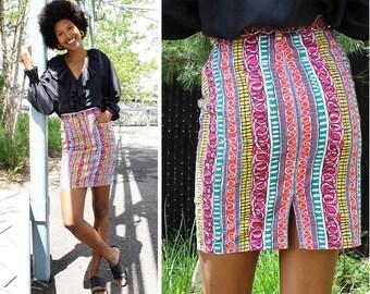 90s Denim Skirt XS • Vintage Mini Skirt • Squiggle Print Colorful Skirt • Summer Skirt • Wiggle Skirt • High Waisted Skirt | SK653
