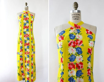 Tropical Floral Dress M • Vintage Halter Dress • Vintage Maxi Dress • 80s Dress • Summer Cotton Dress • Yellow Cotton Dress | D1457