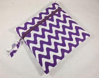 Wet Bag Cloth Pad Wet Bag Purple Chevron