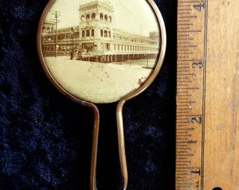 "Antique  Atlantic The Million Dollar Pier Cool Pocket Mirror 2 1/4""  1910"