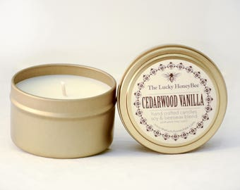 Cedar + Vanilla  || 6 oz Scented Candle || Soy + Beeswax Blend Candle in Gold Tin