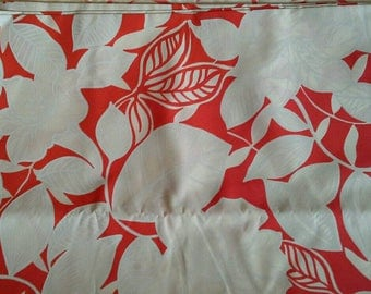 Large Red and White Floral Print Cotton Polyester Blend 2 Yards X1155