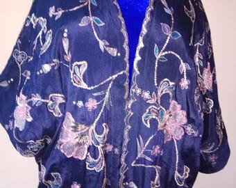 Pure blue silk kaftan. Embroidered kaftan, silk cardigan, silk robe, bohemian kaftan, tribal kaftan. Silk kimono