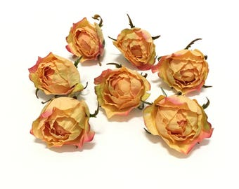 7 CORAL PEACH Real Touch Cabbage Roses - Artificial Flowers, Silk Flowers, Flower Crown, Hair Accessories, DIY Wedding, Mllinery, Hat