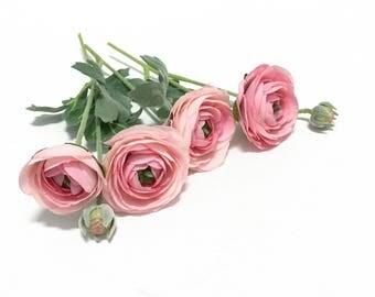 Artificial Pink Ranunculus Flowers - Bud to Bloom on Stems - Artificial Flowers, Silk Flowers, Flower Crown, Millinery, DIY Wedding Flowers
