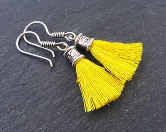 Mini Yellow Tassel Drop Earrings Bohemian Boho Style Light Comfortable Daytime Jewelry Authentic Turkish Style - FREE SHIPPING