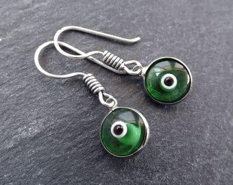 Emerald Green Evil Eye Dangle Earrings Bohemian Boho Style Light Comfortable Daytime Jewelry Authentic Turkish Style  FREE SHIPPING
