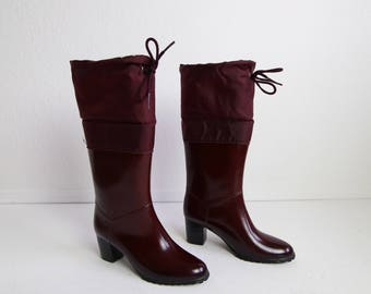 VINTAGE Rubber Boots Shearling Heels Womens Size 6 Oxblood Red