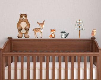 Woodland Animals, Jungle Friends Wall Decals, Baby Room Nursery Art Decor,  Baby Animals Part 86