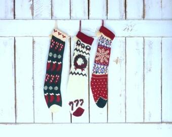 Vintage woven knit Christmas stockings/snowflake/candy canes/wreath/ retro xmas socks/set of 3