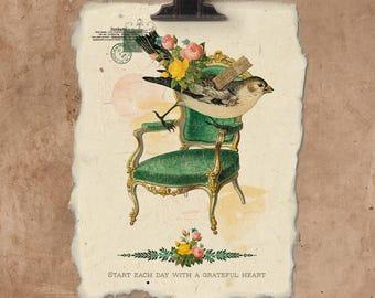 Artisan Grateful Heart Bird Handmade Paper Print.