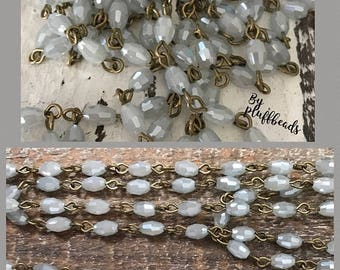 SALE American Artisan assembled Handmade Beaded Chain Pale BLUE GRAY Opal luster 6mmx4mm oval Faceted crystal Beads