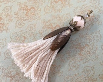 SALE New CHARM Blossum cap TASSEL fringe Cream Ecruembellished with cream matte jasper gemstone