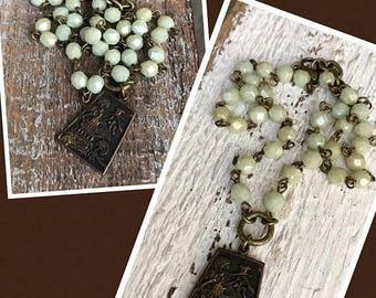 ON SALE Boho rustic yoga layering necklace Pagoda charm European glass beads Aloe green