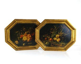 Rachel Ruysch Printed Wood Wall hangings / Wire Basket and