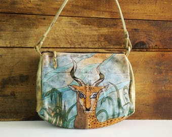 Emily Ann from Boca Raton Purse /  hand painted antelope shoulder bag