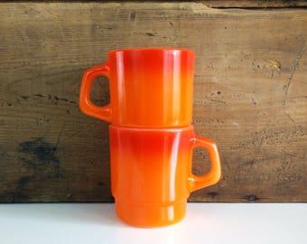 Orange Fire King Mugs / Flameglo Ombre Stackable Fireking Vintage Coffee Cups, Set of 2
