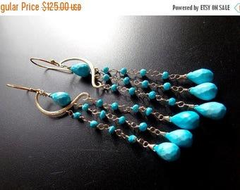 25% OFF SALE Turquoise Waterfall Long Chandelier Earrings Glamourous  Statement Earrings 14k Gold Filled Wire Wrapped Earrings
