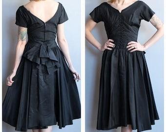 20% Off Sale // 1950s Dress // Black Tie Affair Dress // vintage 50s silk taffeta dress