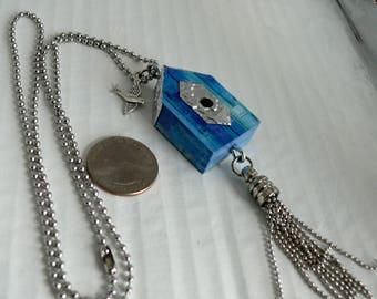 OOAK Birdhouse Necklace, Handmade, Multi-color, from Bluebird Creations, Item #2024
