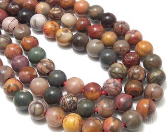 Red Creek Jasper, Large Hole Bead, 8mm, Dakota Stones, Round, Smooth, Red/Brown/Tan/Gray/Green, Gemstone Beads, 8 Inch Strand - ID 2335