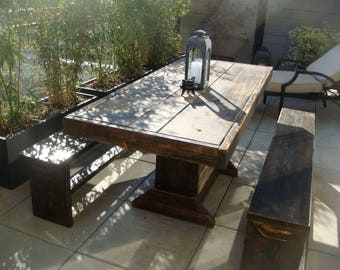 Reserved for Rand - HOLIDAY SALE: 7 foot Patio table and bench set / This weekend only