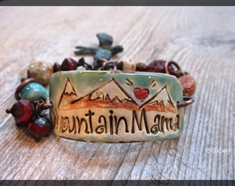 Artisan Pottery Cuff Mountain Mama Bird Charm