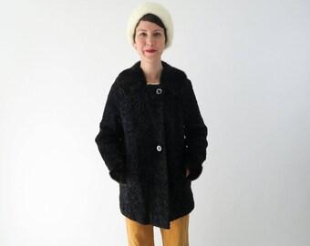 1950s Black Persian Lamb w Mink Collar Coat / Vintage Fur Coat