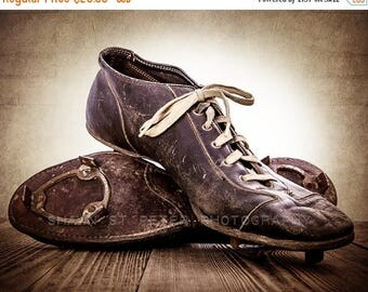 FLASH SALE til MIDNIGHT Vintage Football Cleats Photo Print, Decorating Ideas, Wall Decor, Wall Art,  Kids Room, Rustic Decor, Vintage Sport