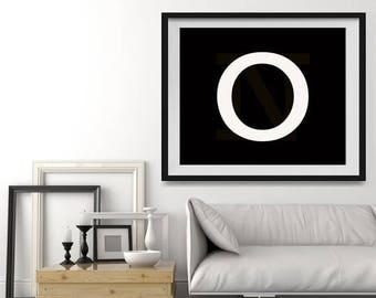 FLASH SALE til MIDNIGHT Letter O in 4 color choices, Monogramed Photo Print or Canvas kids Wall art