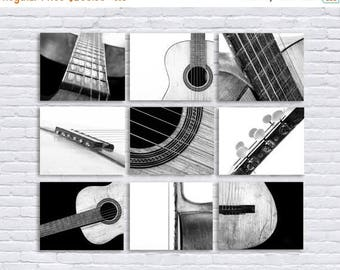 WEEKEND SALE Black and White Vintage Acoustic Guitar Parts, Set of Nine Stretched Canvas prints, Music theme, guitar room, Music Decor