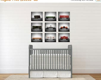FLASH SALE til MIDNIGHT Vintage Toy Train set of Nine Canvas Prints on Grey Background, Nursery Decor, Rustic Decor Toy Trains, Baby room id