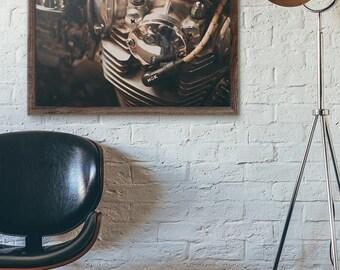 FLASH SALE til MIDNIGHT Vintage Air cooled Engine Closeup Fine Art Print, Wall Decor, Wall Art, Motorcycle gift Ideas,
