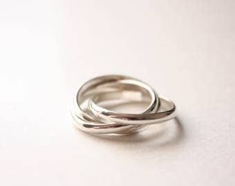 Sterling Silver Rolling Ring, Three Ring Set, Sterling Silver, Made to Order