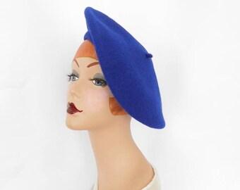 Blue beret hat, vintage wool tam tilt
