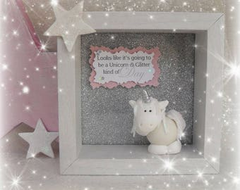 GLITTER UNICORN PLAQUE Gift, Keepsake, Box Framed Unicorn Collectable, Star, Girl's Room