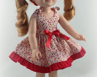 14.5 inch Doll Clothes -Dress fits Dolls Like Wellie wishers Doll Clothes