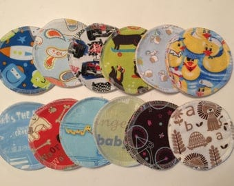 Nursing pads 12 sets (24 total) made with 1 layer of PUL and 3 layers of 100% cotton flannel