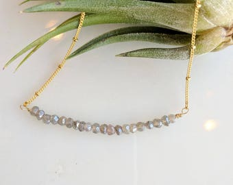 Labradorite and Gold Bead Bar Necklace - labradorite necklace - bead bar necklace - dainty necklace - layering necklace - boho necklace