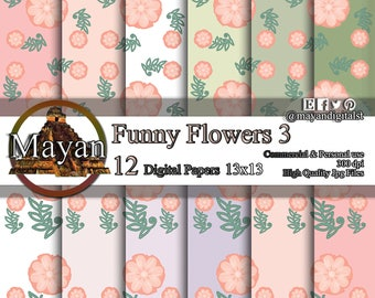 Funny flowers, digital paper, digital images and colors paper for decorations