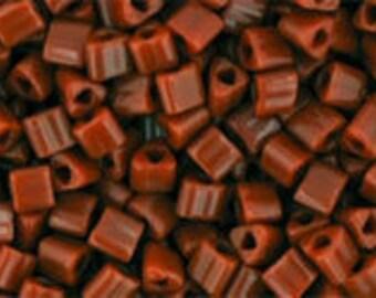 Japanese (TOHO) 11/0 Triangle Seed Bead, Opaque TERRA COTTA, #46L, (tg-20) red,terra cotta,Kumihimo, Beadweaving, Beading, Knitting, Jewelry