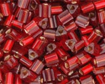 Japanese (TOHO) 11/0, Triangle Seed Bead, Silver-Lined RUBY, #25C, (tg-23), red, ruby, deep red, Kumihimo, Beadweaving, Beading, Jewelry