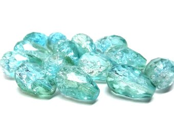 """10 or 25 pcs Blue Green Clear Aqua Crackle Glass Faceted Teardrop Beads - 16 X 10mm (5/8"""" x 3/8"""")"""