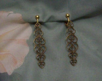 Clip on or Pierced Lightweight Antiqued Bronze Gold Strand of Hearts Earrings