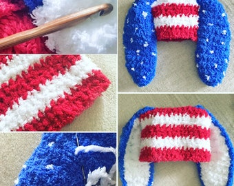 0 to 3m Newborn 4th July Baby Bunny Hat, Baby Shower Gift Crochet Baby Hat, Bunny Ears Red White Blue Star American Flag Hat Easter Cij