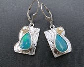 Asian Flavored Opal Earrings with Pearl Accent